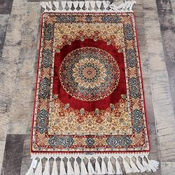 Yilong Handmade Traditional Qum Persian Silk Rug Vintage Hand Knotted Oriental Medallion Carpet  ...