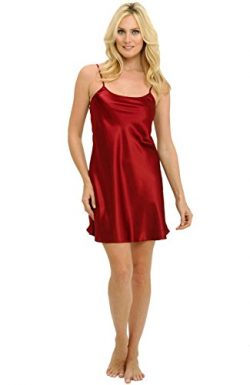 Alexander Del Rossa Womens Satin Nightgown, Long Camisole Chemise, Small Burgundy (A0766BRGSM)