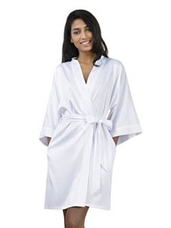 SIORO Robe Silk Kimono Robe Satin Bath Robe Wedding Bride Bridesmaid Robes Lightweight Nightwear ...