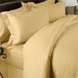 1000 Thread Count Egyptian Cotton (NOT MICROFIBER POLYESTER) KING Size, GOLD Stripe, Duvet Cover ...