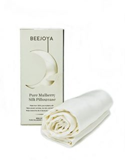 BEEJOYA Natural Silk Pillowcase, Hypoallergenic, 22 momme, 100% Mulberry Silk, King Size with En ...
