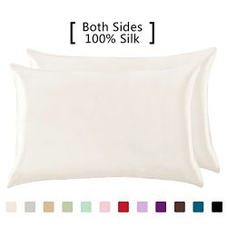 YANIBEST 19 Mome 2 Pack 100% Mulberry Silk Pillow Cases for hair and Skin (Standard, Natural White)