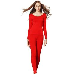 Liang Rou Women's Scoop Neck Long Johns Ultra Thin Thermal Underwear Set Red L