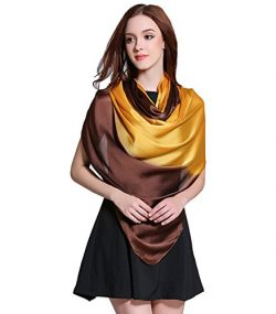 K-ELeven Silk Scarf Gradient Colors Scarves Long Lightweight Sunscreen Shawls for Women SK073-D