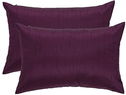 12 X 18 Inches Faux Silk Decorative Lumbar Throw Pillow Cushion, Complete Pillow with Zipper ...