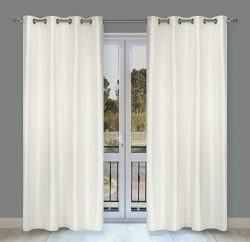 LJ Home Fashions Silkana Faux Silk Grommet Curtain Panels (Set of 2) 56×88-in, Ivory