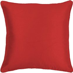 2 X RED PLAIN FAUX SILK 17″ X 17″ (43CM X 43CM) PIPED CUSHION COVERS PILLOW CASE SHAMS