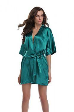 Sunnyhu Women's Pure Color Kimono Robe, Short (M, Teal)