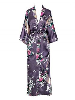 Old Shanghai Women's Kimono Long Robe – Peacock & Blossoms – Dusk (on seam ...
