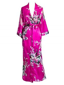 Old Shanghai Women's Kimono Long Robe – Peacock & Blossoms (Fuchsia (on seam poc ...