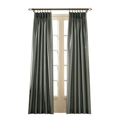 Curtainworks Marquee Faux Silk Pinch Pleat Curtain Panel, 30 by 108″, Teal