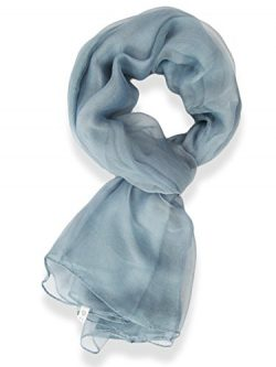 V28® Womens Multi Radient Colors 100% Pure Silk Scarf (41 x 69 inches, PureBurntBlue)