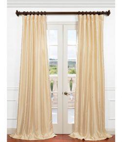 Half Price Drapes PDCH-HANB81-84 Yarn Dyed Faux Dupioni Silk Curtain, Winter Ivory