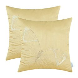 Pack of 2 CaliTime Cushion Covers Throw Pillow Cases Shells for Home Sofa Couch, Big Butterfly E ...