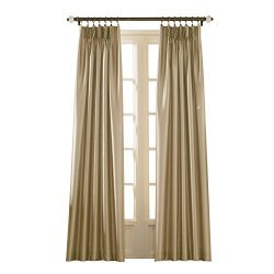 Curtainworks Marquee Faux Silk Pinch Pleat Curtain Panel, 30 by 132″, Sand