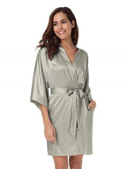 SIORO Kimono Robe Satin Robes Silk Lightweight Nightwear Wedding Bath Robe V-Neck Sexy Sleepwear ...