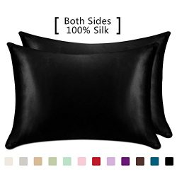 YANIBEST 19 Mome 2 Pack 100% Mulberry Silk Pillow Cases for hair and Skin (Queen, Black)