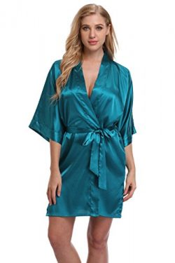 Kimono Women's Smooth Touch Short Kimono Robes For Bride and Bridesmaids Blackish Green M