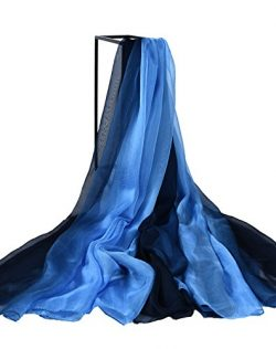 Designer Silk Scarves, Faurn Oversized Original Painting Silk Feel Wraps Shawls (Gradient Blue)