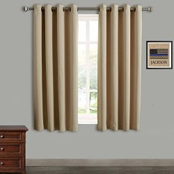 RHF Blackout Thermal Insulated Curtain – Antique Bronze Grommet Top for bedroom-Set of 2 P ...