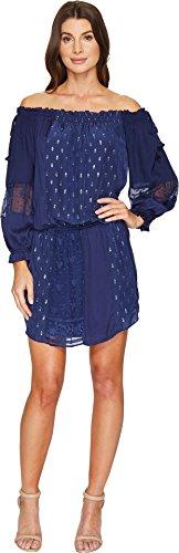 Hale Bob Women's Sheer Genius Mix Rayon Satin/Silk Lurex Dot Dress Navy Large