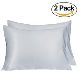 LULUSILK Mulberry Silk Pillowcase for Hair and Skin Queen Size Silvergrey Pillow Cover for Wrink ...