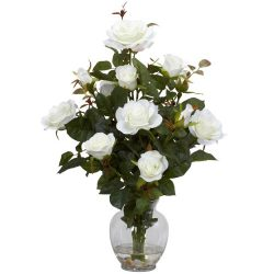 Nearly Natural 1281-WH Rose Bush with Vase Silk Flower Arrangement, White