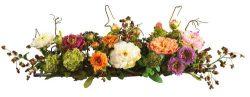 Nearly Natural 4665 Peony Centerpiece Silk Flower Arrangement, Mixed