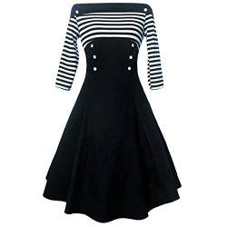 Shengdilu Women's Elegant Off Shoulder Shirtwaist Flared Evening Tea Dress Swing Skaters B ...