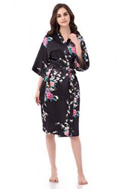 gusuqing Women's Printing Peacock Kimono Robe Short Sleeve Silk Bridal Robe Black M