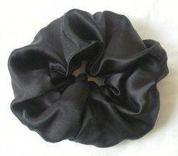 Black Silk Charmeuse Scrunchy-Large -Black silk Scrunchy- Scrunchies For Hair – silk Scrun ...