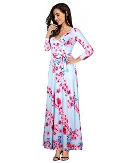 Women Wrap Casual Tie V-Neck Floral Print Maxi Long Dresses With Belt Blue-Pink L