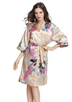 J.ROBE Women's Printing Lotus Kimono Robe Short Sleeve Silk Bridal Robe Gold M