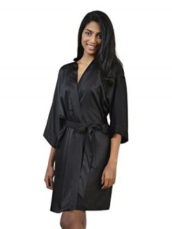 SIORO Women's Satin Robe Bridesmaid Kimono Robe Silk Bath Robe Lightweight Sleepwear Pajam ...