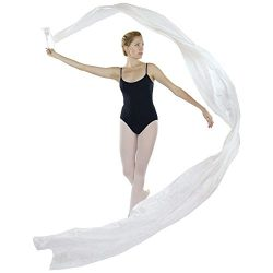 Danzcue Dance Silk Worship Gym Rhythmic Art Ballet Flower Streamer(Rod included), White