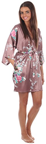 VEAMI Women's Kimono Robe, Peacock Design-Mulberry Wine-Large/X-Large, Short