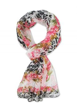 V28 Womens Floral & Graphic Print 100% Silk Great Nature Pattern Scarf (Flowers-Rose&Black)