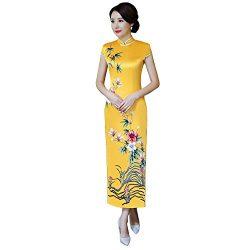 Shanghai Story Faux Silk Chinese Dress Cheongsam Woman's Qipao Long Dress 6 925