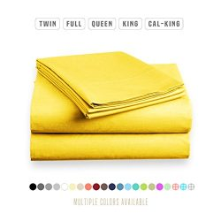 Luxe Bedding Sets – Microfiber King Size Sheets Set 4 Piece, Pillow Cases, Deep Pocket Fit ...