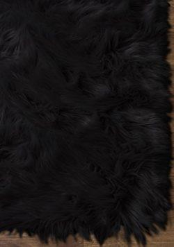 Serene Super Soft Faux Sheepskin Shag Silky Rug Baby Nursery Childrens Room Rug Black, 5′  ...