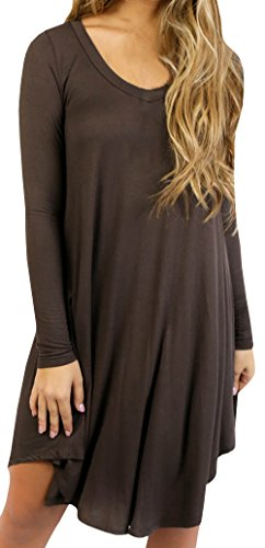 Women Tshirt Dress Casual Plain Flowy Simple Swing TShirt Loose Dress, XLarge, Brown