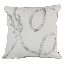 Homey Cozy Embroidery White Velvet Throw Pillow Cover, Merry Christmas Series Gift Knot Luxury S ...