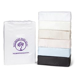 King Silk Sheet Set (17″ Pocket) – White – DELUXE 22 Momme 100% Pure Mulberry  ...