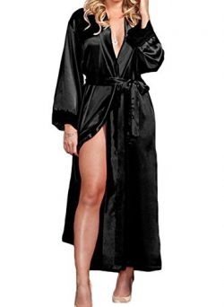 Tomblin Women's Pure Color Lace Satin Kimono Long Robe Silk Bridal Bridesmaid Robe (one si ...