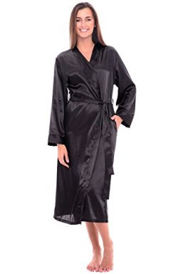 Alexander Del Rossa Womens Satin Robe, Long Dressing Gown, Large Black (A0755BLKLG)