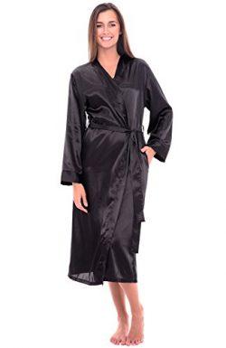 Alexander Del Rossa Womens Satin Robe, Long Dressing Gown, Medium Black (A0755BLKMD)