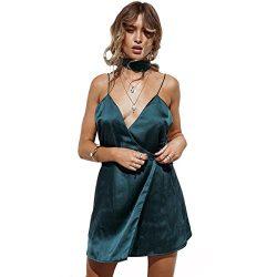 Enbeautter Sexy Loose Women Silk Deep-V Neck Dress Flow (XXL)