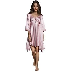 SUNBABY Women Sexy Silk Satin Robe Camisole Pajama Dress Two Piece Suit Sleepwear (L, Pink)