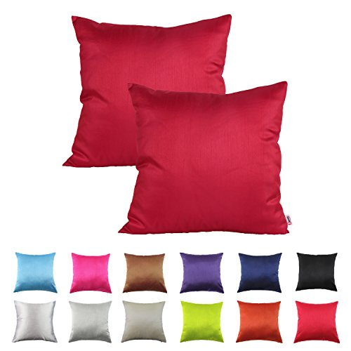 Queenie - 2 Pcs Solid Color Faux Silk Decorative Pillowcase Cushion Cover for Sofa Throw Pillow ...