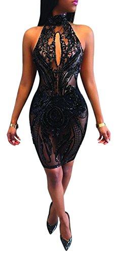 Bodycon Dress for Women Sleeveless Floral Hollow Out Clubwear Evening Midi Dress Skirt